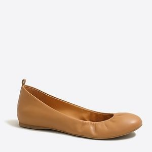 J. Crew Anya Leather Flats, Burnt Sienna, Size 9